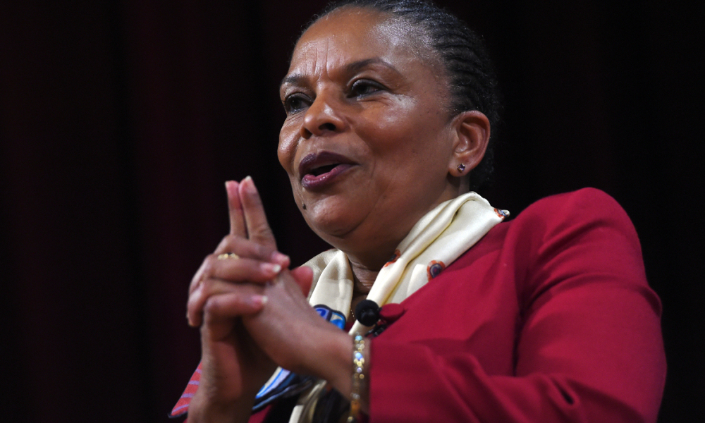 "Former French Justice Minister Christiane Taubira speaks at a campus of the New York University on January 29, 2016, in New York. Taubira quit in protest over the government's efforts to strip convicted French-born terrorists of their citizenship if they have a second nationality. Taubira, popular among the ruling Socialists of President Francois Hollande but a target of criticism from right-wing politicians, tweeted: ""Sometimes to resist means staying, sometimes resisting means leaving."" Jewel Samad / AFP"