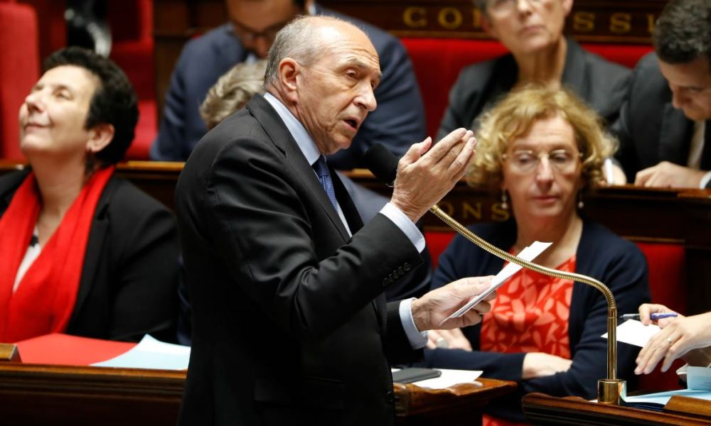 French Interior Minister Gerard Collomb addresses a session of questions to the government at the National Assembly in Paris on November 22, 2017.  FRANCOIS GUILLOT / AFP