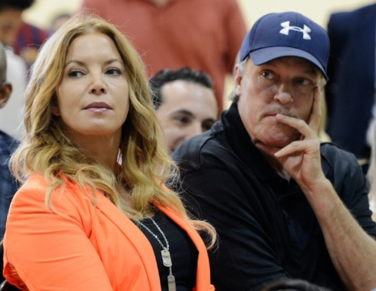 EL SEGUNDO, CA - AUGUST 10: Jim Buss and his sister Jeanie Buss of the Los Angeles Lakers attend a news conference where Dwight Howard was introduced as the newest member of the team at the Toyota Sports Center on August 10, 2012 in El S...