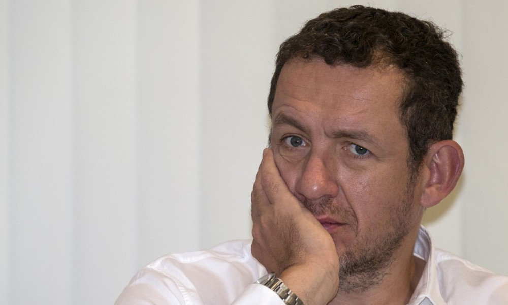 "French actor, director and humorist Dany Boon looks on during a press conference to present his latest film titled ""Supercondriaque"" on December 16, 2014 in the Israeli coastal city of Tel Aviv. ""Supercondriaque"" will be released on Israeli screens on December 25"