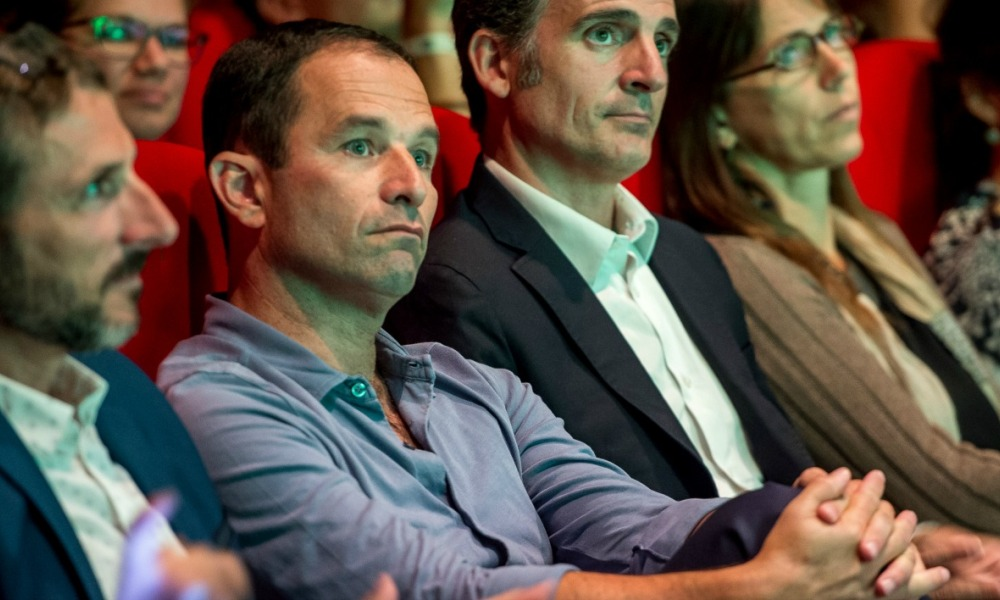 "Former socialist presidential candidate now leader of the ""mouvement du 1er juillet"" Benoit Hamon attends a Europe Ecologie Les Verts (EELV) green party summer congress on August 24, 2017 in Dunkerque, northern France.  PHILIPPE HUGUEN / AFP"