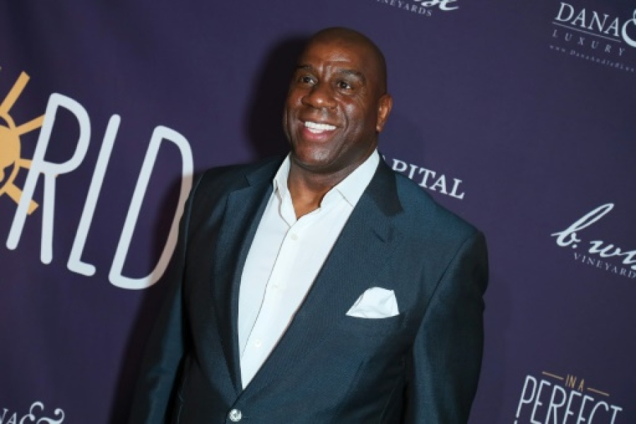 "Earvin ""Magic"" Johnson lors d'une soirée caritative, le 3 mars 2019 à West Hollywood"