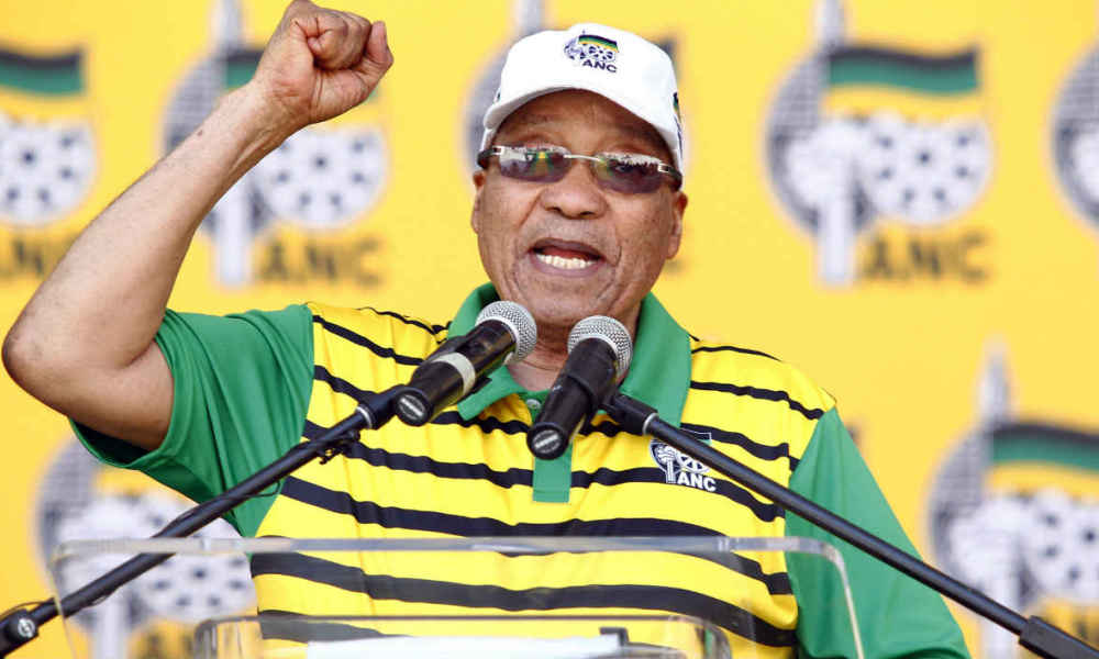 South African president and African National Congress (ANC)'s president Jacob Zuma delivers a speech during the Party official launch of the Municipal Elections manifesto on April 16, 2016 in Port Elizabeth, South Africa. Embattled South African president Jacob Zuma said on April 16, 2016 a vote for the ruling party was a vote for the constitution, just two weeks after the Constitutional Court slammed him for flouting the country's paramount law.