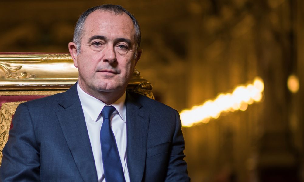 The president of Socialist Party (PS) parliamentarty group at the French Senate Didier Guillaume poses in the conference room of the Palais du Luxembourg where the Senate is located, on November 15, 2016 in Paris.  LIONEL BONAVENTURE / AFP