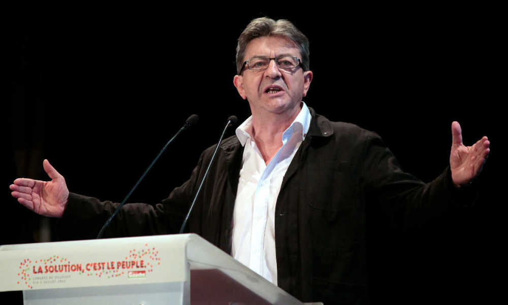 "European MP and former president of the left-wing party Front de Gauche Jean-Luc Melenchon, speaks during the closing of the Front de Gauche congress entitled ""The solution is the people!"" in Villejuif, in the southern suburbs of Paris on July 5, 2015. AFP PHOTO/JACQUES DEMARTHON JACQUES DEMARTHON / AFP"