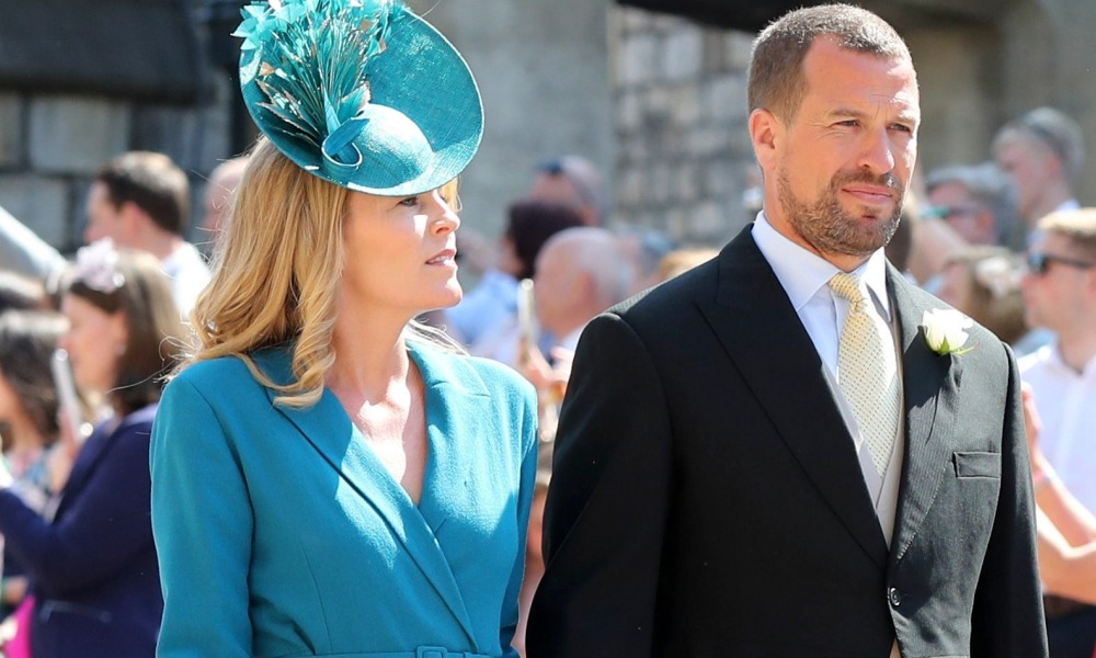 Peter Phillips et son épouse, Autumn Phillips, au mariage du prince Harry et de Meghan Markle le 19 mai 2018