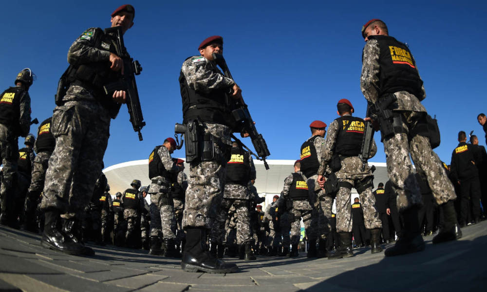 Troops fall in at the Olympic Village in Rio de Janeiro, Brazil on July 5, 2016 during the ceremony to hand over the security of the Olympic and Paralympic Games Rio 2016 to the National Force.