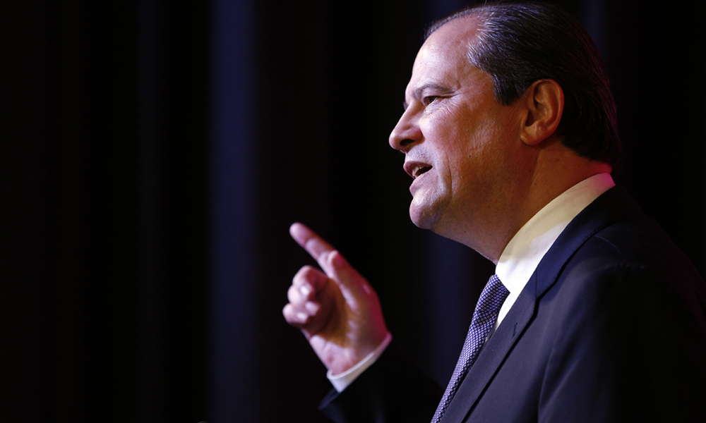 Socialist party (PS) first secretary Jean-Christophe Cambadelis gives a speech during a press conference on December 15, 2015 in Paris, two days after the results of the French regional elections.