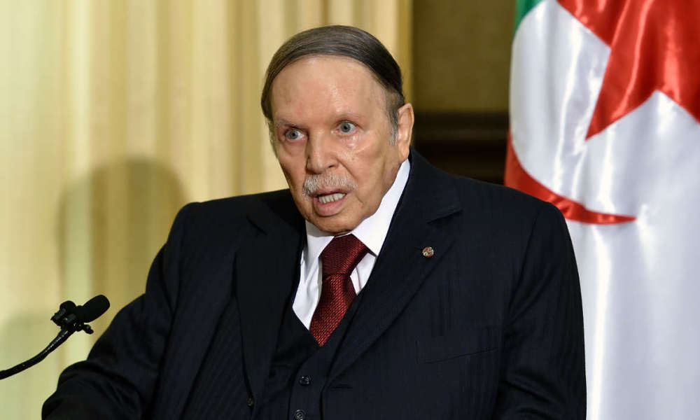 "(FILES) This file photo taken on April 10, 2016 shows Algerian President Abdelaziz Bouteflika meeting with the French prime minister at his residence in Zeralda, a suburb of the capital Algiers. Algeria's ailing President Bouteflika travelled to Geneva on April 24, 2016 for a ""routine medical check,"" his office announced."