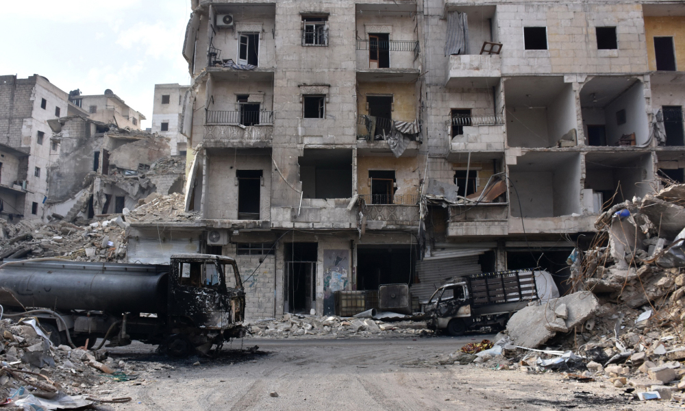 A picture shows destruction in the former rebel-held Sukkari district in the northern city of Aleppo on December 23, 2016 after Syrian government forces retook control of the whole embattled city. Syrian troops cemented their hold on Aleppo after retaking full control of the city, as residents anxious to return to their homes moved through its ruined streets.