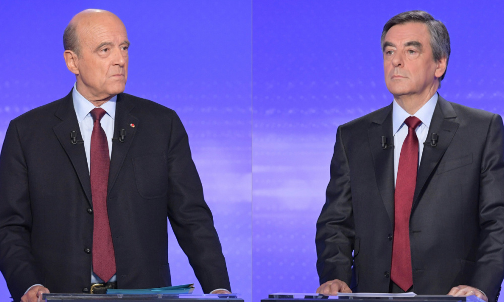 (COMBO) This combination of pictures created on November 21, 2016 shows Alain Juppe (L) Francois Fillon preparing to take part in a televised debate at the studios of France 2 in Paris on November 17, 2016. Fillon and Juppe, both former prime ministers, will go head-to-head in a run-off of France's rightwing presidential primary on November 27, 2018, ahead of the presidential election of May 2017. Christophe ARCHAMBAULT / AFP