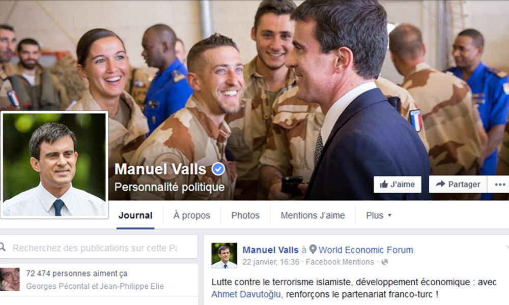La page Facebook officielle de Manuel Valls.