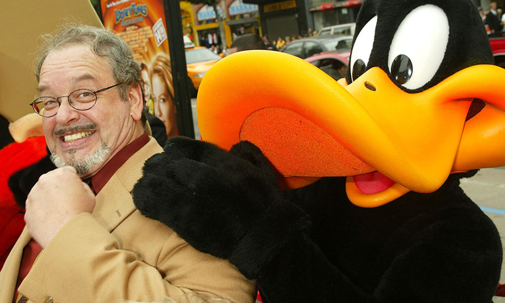 """Cartoon voice actor Joe Alaskey arrives at the premiere of """"Looney Tunes: Back in Action"""" at the Chinese Theater on November 9, 2003 in Los Angeles, California."""