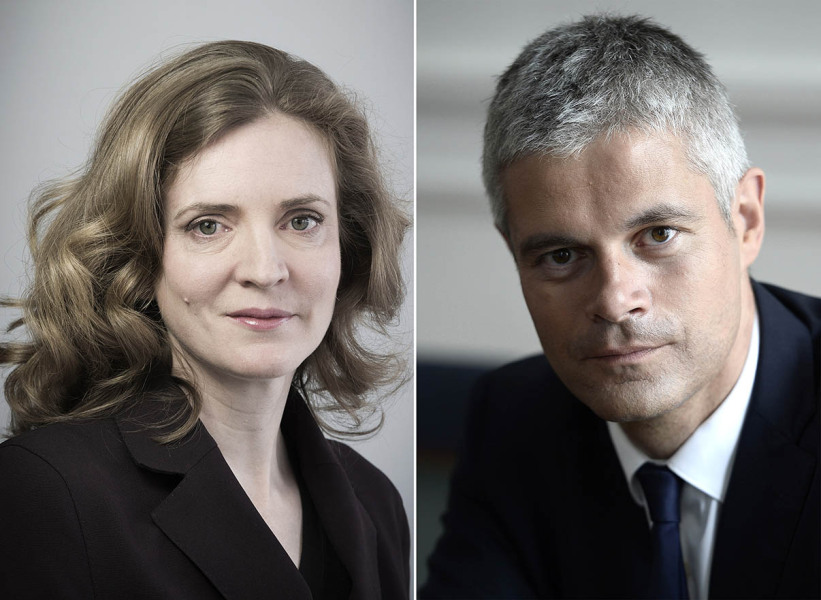 A combo of two files pictures made on December 4, 2014 shows French right-wing UMP party member of parliament Nathalie Kosciusko-Morizet  (L) posing on February 17, 2014 in Paris and Laurent Wauquiez, French MP of the UMP party and former minister (R) posing in Paris on July 17, 2014. Kosciusko-Morizet was appointed on December 4, 2014 as 'number 2'' and vice-president delegate of the UMP party as Wauquiez became secretary general of the party.