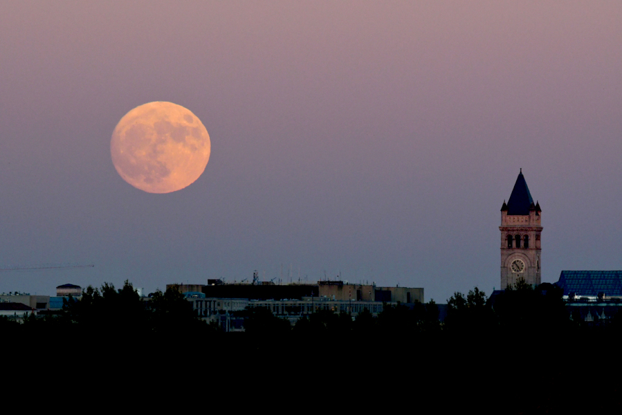 A supermoon rises over Washington, DC November 13, 2016. The supermoon will venture to its closest point in 68 years, leaving only 221,524 miles (356,508 km) between Earth and the moon. Eva HAMBACH / AFP