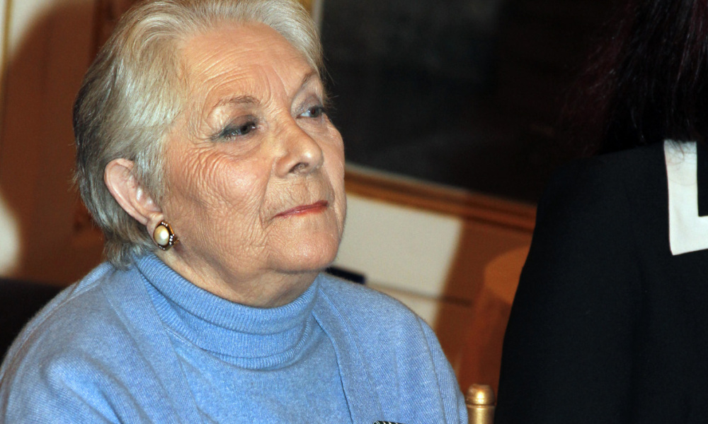 (FILES) This file photo taken on February 1, 2012 shows French actress Claude Gensac attending a ceremony where she was awarded the chevalier des arts et lettres (Knight of the French Order of Arts and Letters) in Paris. Gensac, who played the wife of Louis de Funes in 10 films and starred in more than 100 movies, passed away at the age of 89 on December 27, 2016. THOMAS SAMSON / AFP