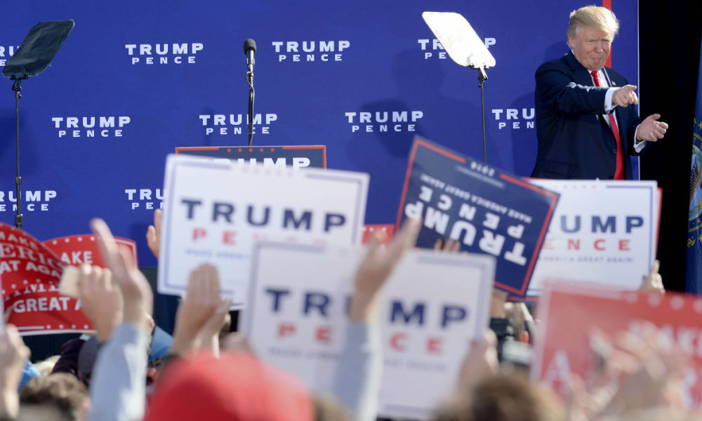 Donald Trump lors d'un meeting à Portsmouth, dans le New Hampshire, le 15 octobre 2016