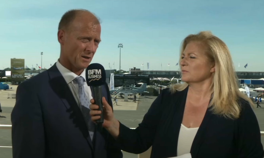 Tom Enders répondait aux questions d'Hedwige Chevrillon en direct du Salon du Bourget.
