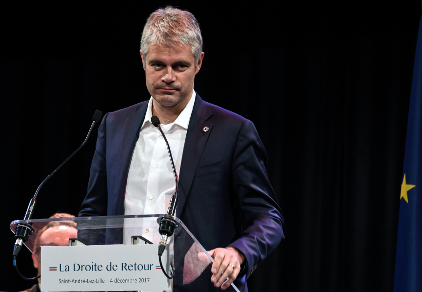 French right-wing Les Republicains (LR) party vice-president and candidate for the party's presidency Laurent Wauquiez delivers a speech during a campaign meeting on December 4, 2017, in Lille, northern France. The elections for the LR presidency will be held on December 10 and 17. Denis Charlet / AFP