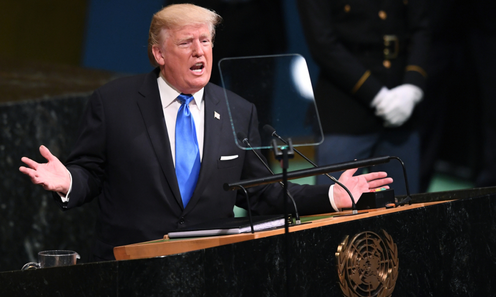 Donald Trump à la tribune de l'ONU, le 19 septembre 2017. - Jewel Samad - AFP