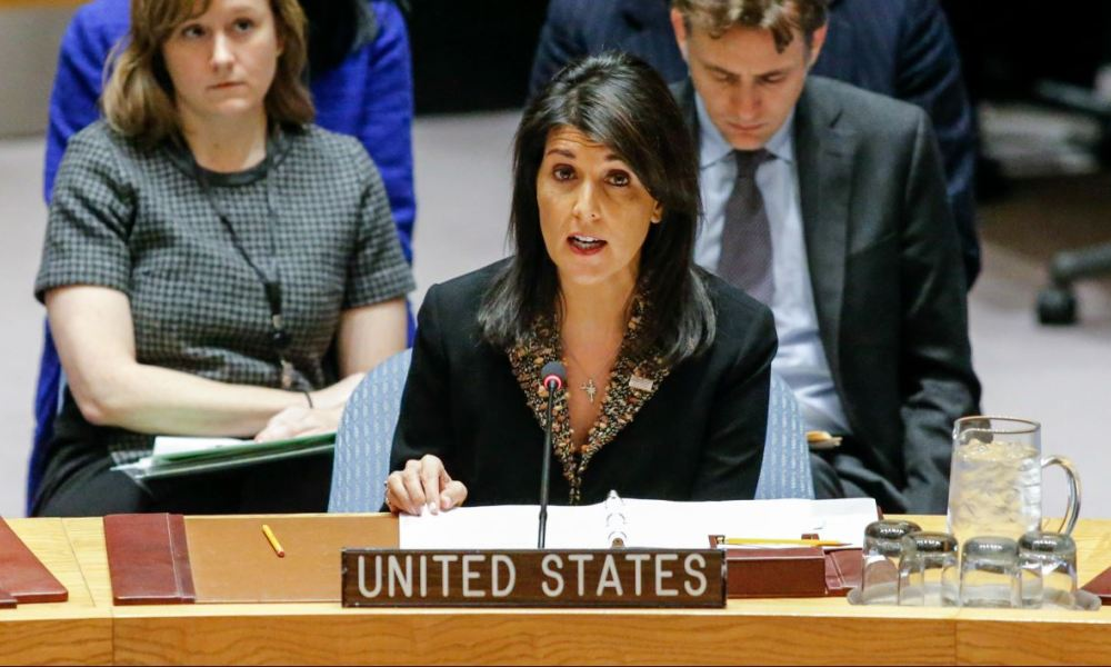 US Ambassador to the UN Nikki Haley speaks during a UN Security Council meeting over the situation in the Middle East on December 18, 2017, at UN Headquarters in New York. The UN Security Council is to vote on a draft resolution rejecting US President Donald Trump's recognition of Jerusalem as the capital of Israel.
