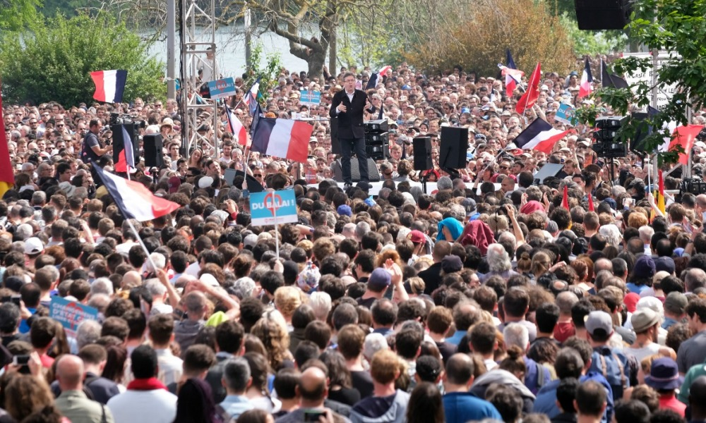 French presidential election candidate for the far-left coalition La France insoumise Jean-Luc Melenchon speaks during a campaign rally at the Prairie de Filtres park in Toulouse on April 16, 2017.  Eric CABANIS / AFP
