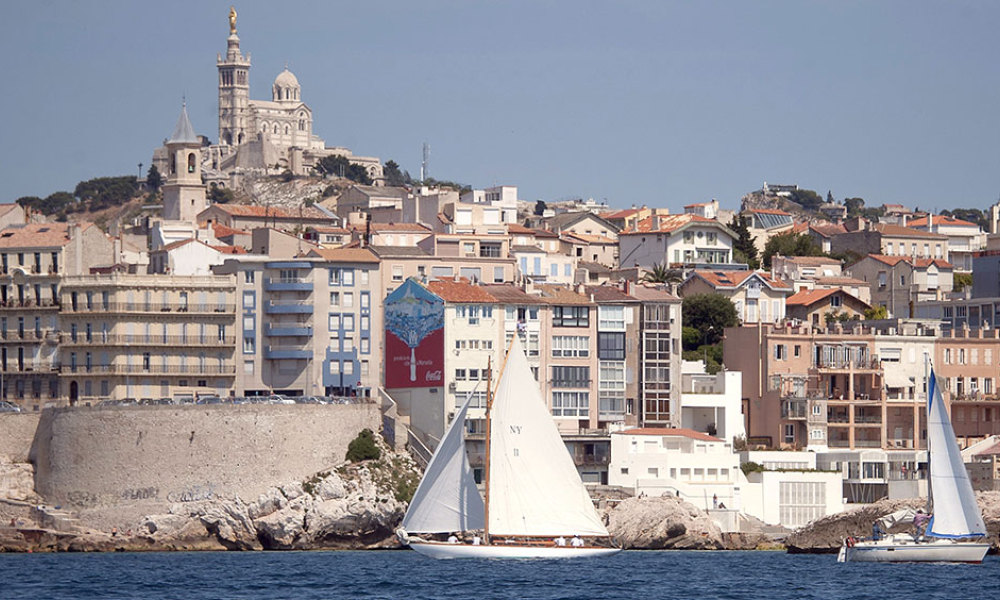 "Traditional sailboats take part in the ""Vieux-Port"" sailing race off Marseille harbour on June 16, 2011, south eastern France."