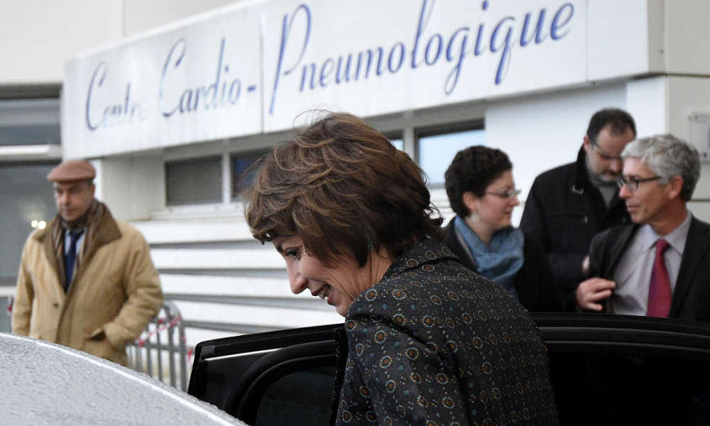 "CHU Rennes French Social Affairs and Health minister Marisol Touraine leaves after a press conference on January 15, 2016 at the Pontchaillou Hospital in Rennes, northwestern France. A ""serious accident"" during a drugs trial in France has left one person brain-dead and five hospitalised, Marisol Touraine said today. She said the six had been taking part in a ""trial of an oral medication being developed by a European laboratory"" in the northwestern city of Rennes."