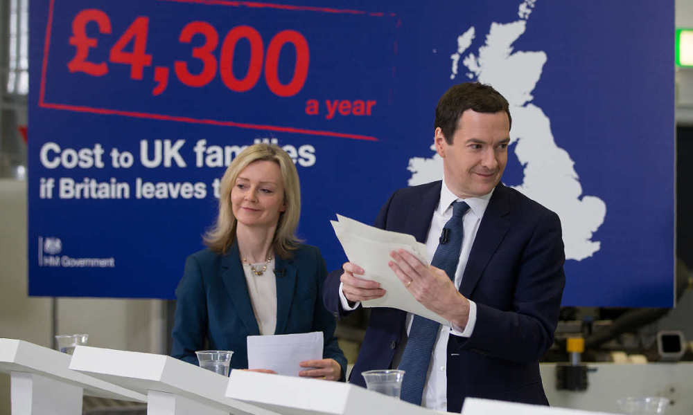 "British Chancellor of the Exchequer George Osborne (R) and British Environment Secretary Liz Truss address invitees at an event at the National Composites Centre at the Bristol and Bath Science Park in Bristol, south-west England on April 18, 2016. If Britain leaves the European Union its economy could be six percentage points smaller than it would otherwise have been by 2030, the finance ministry warned in a report on that was dismissed as scaremongering by eurosceptics. The report said a Brexit would cause ""permanent"" economic damage as Britain would never be able to negotiate quota-free, no-tariff access to the single market if Britons vote to leave in a June referendum."