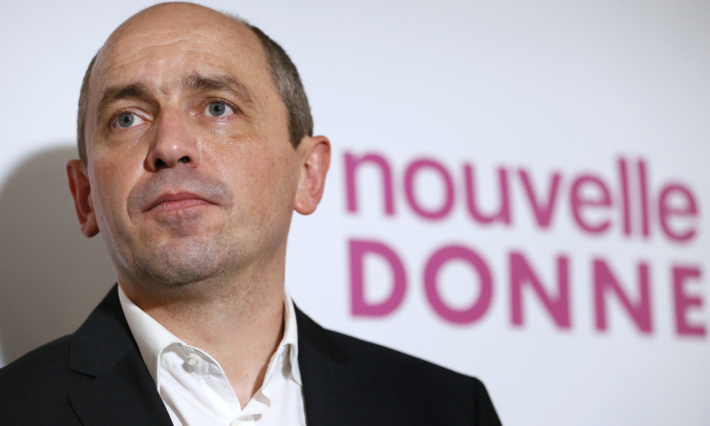 "French economist Pierre Larrouturou gives a press conference on November 28, 2013 in Paris, to present a new political party called ""New Deal"" (Nouvelle Donne). ""New Deal"" candidates will take part in the European elections of May 2014 to ""win ahead of the PS [French Socialist Party] and serve as a wake-up call"""