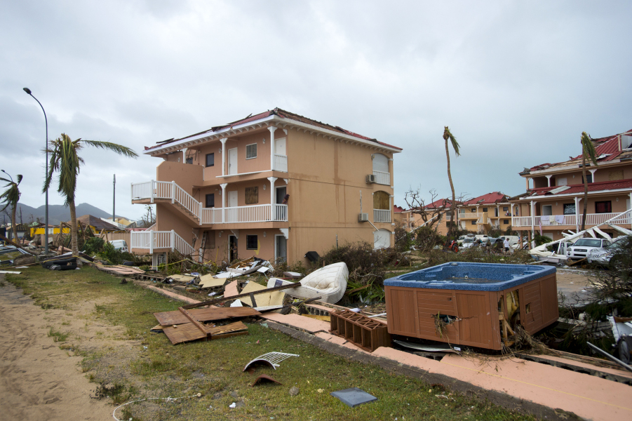 "A photo taken on September 6, 2017 shows damage outside ""Le flamboyant"" hotel and resort in Marigot, on the Bay of Nettle, on the island of Saint-Martin in the northeast Caribbean, after the passage of Hurricane Irma."