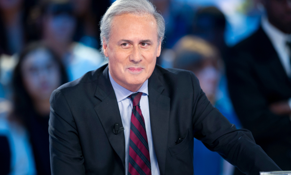 "Georges Tron sur le plateau du ""Grand Journal"" de Canal Plus, en mai 2012."
