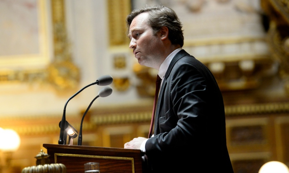 French senator of Yonne Jean-Baptiste Lemoyne, rapporteur of the law reform, delivers a speech on June 13, 2016 at the French Senate in Paris.  BERTRAND GUAY / AFP