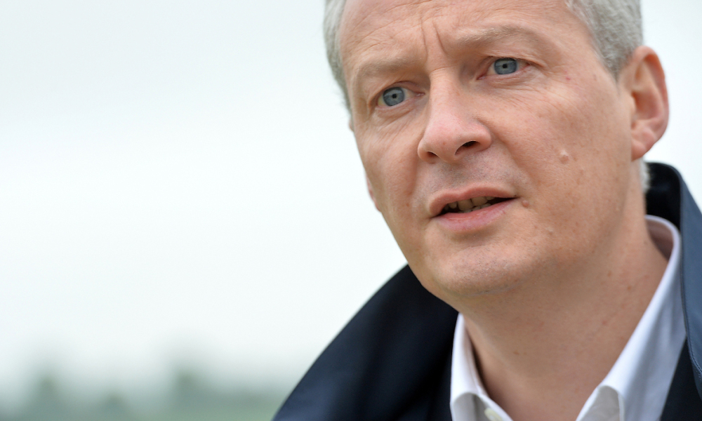 French right-wing Les Republicains (LR) party MP and candidate for the party's primary for the 2017 presidential elections, Bruno Le Maire is pictured during a visit to the stud farm of Sassy (Haras de Sassy) on June 3, 2016 in Saint-Christophe le Jajolet, western France.  JEAN-FRANCOIS MONIER / AFP