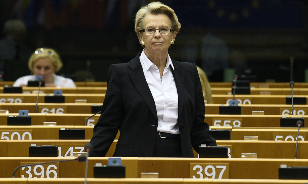 """This file photo taken on June 23, 2016 shows French right-wing Les Republicains (LR) party member Michele Alliot-Marie arriving prior to the Palestinian President's speech at the EU Parliament in Brussels on June 23, 2016. Michele Alliot-Marie, former minister, announced on December 8, 2016 her candidacy for the 2017 French presidential elections in an interview on the French website 20minutes.fr of the news-paper 20minutes. Assuring that she has already obtained """"about half of the promises of the 500 required patronages"""" to be able to present herself. JOHN THYS / AFP"""