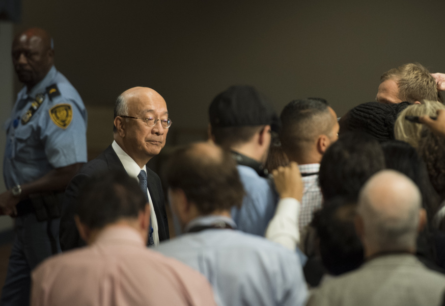 Japan's Ambassador to the United Nations Koro Bessho arrives for a Security Council meeting on North Korea on September 15, 2017, at the United Nations in New York.  JEWEL SAMAD / AFP