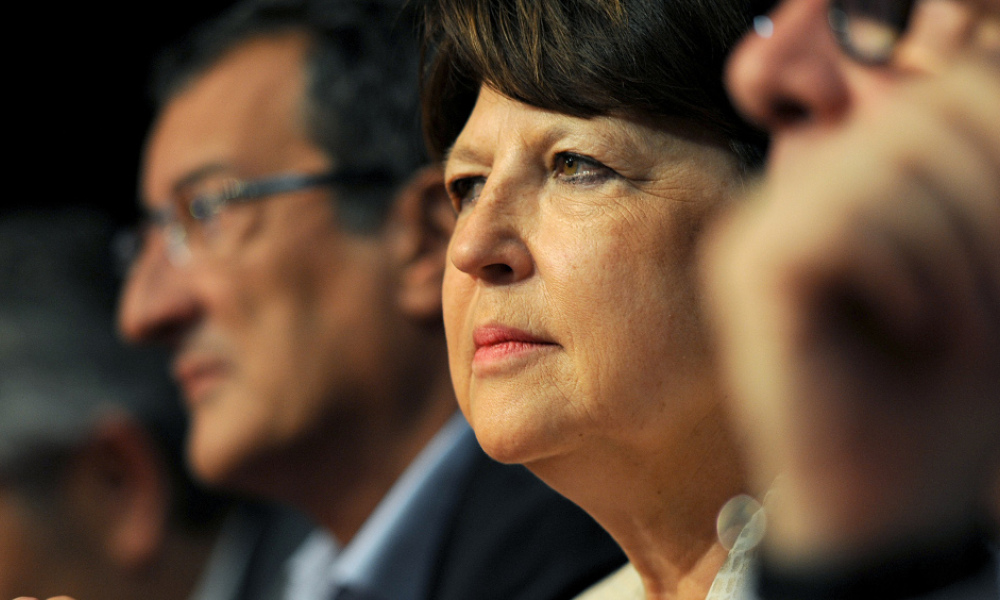 Martine Aubry le 6 juin d'un meeting lors d'un meeting du PS à Poitiers.