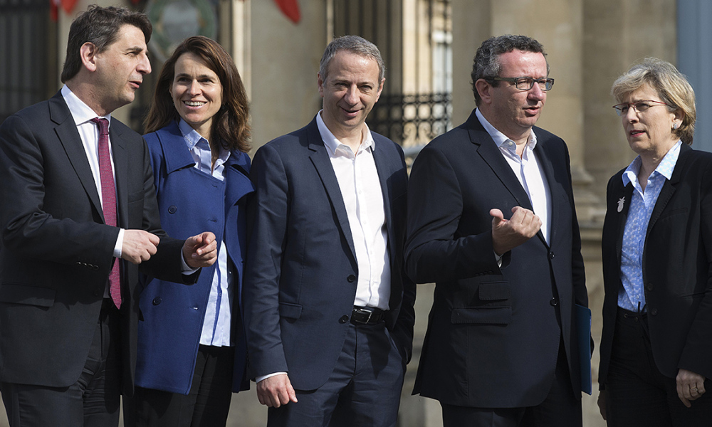 "Socialist Party (PS) dissident members from the mainstream party policy, in a group known as ""Les Frondeurs"" (Slingers), (LtoR) Daniel Goldberg, Aurelie Filippetti , Laurent Baumel , Christian Paul , Fanelie Carey Conte and Marie- Noelle Lienemann pose in Paris on May 11, 2015."