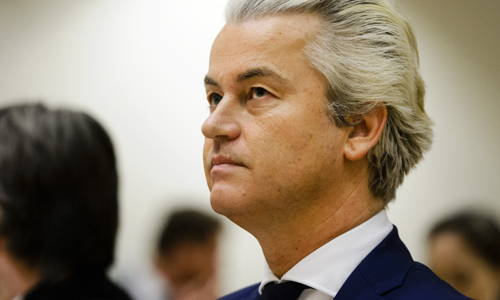Geert Wilders of the Party for Freedom (PVV) is seen prior to his trial, at Schiphol, Badhoevedorp, on March 18, 2016. Wilders is standing trial for allegedly inciting hatred against the Dutch Moroccan minority. Remko de Waal / ANP / AFP