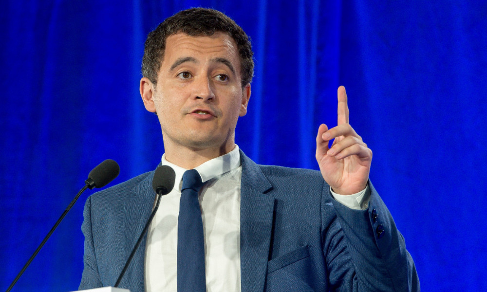 Mayor of the city of Tourcoing and party member of the French right-wing Les Republicains (LR) party Gerald Darmanin gestures as he delivers a speech during a party meeting on June 8, 2016 in Saint-Andre-lez-Lille.  PHILIPPE HUGUEN / AFP