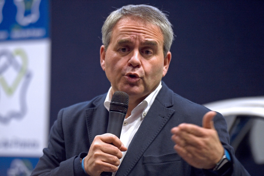 President of the Hauts-de-France region, Xavier Bertrand, gives a speech on December 12, 2017, during a visit at a plant of Japanese multinational automotive manufacturer Toyota in Onnaing, northern France.