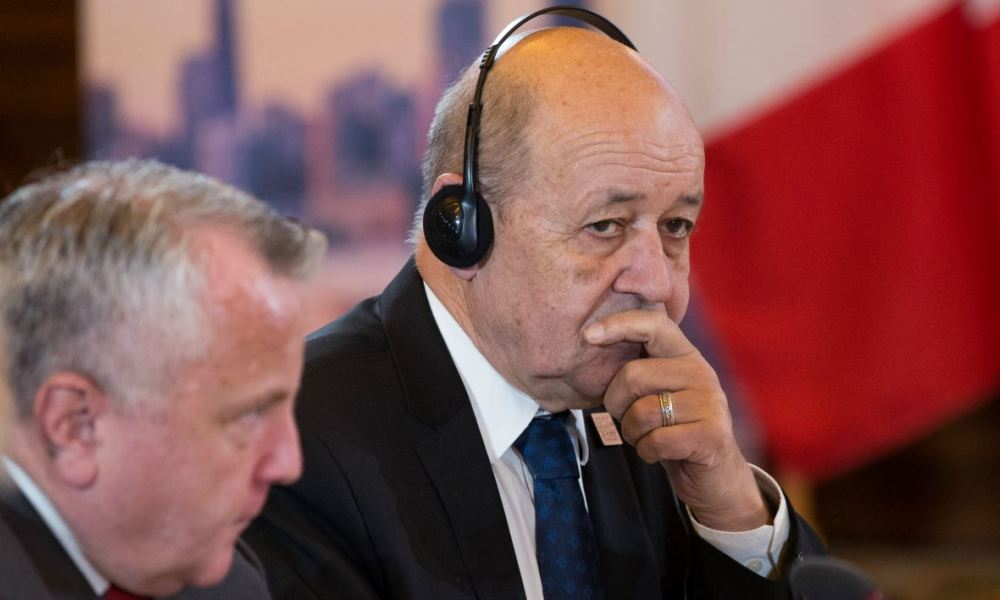 US Deputy Secretary of State John Sullivan and French Foreign Minister Jean-Yves Le Drian attend the G7 Foreign Minister meeting Toronto, Ontario, on Sunday on April 22, 2018. Lars Hagberg / AFP