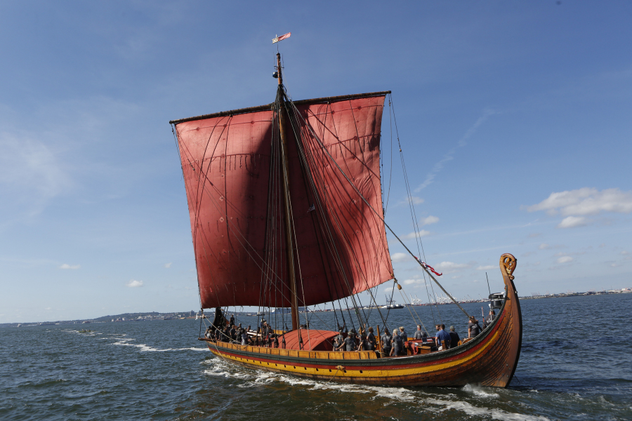 NEW YORK, NY - SEPTEMBER 17: General atmosphere at The World's Largest Viking Ship, Draken Harald Harfagre Docks In NYC on September 17, 2016 in New York City. Thos Robinson/Getty Images for Draken Harald Harfagre/AFP  THOS ROBINSON / GETTY IMAGES NORTH AMERICA / AFP