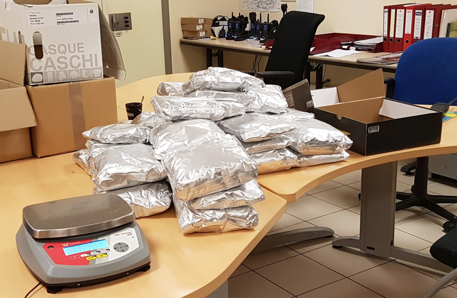 A handout picture released by the French customs (Douanes Francaises) on August 14, 2017, shows bags containing amphetamine paste, seized by the French customs on the night of August 8 to 9, 2017, in Limoges, central France.