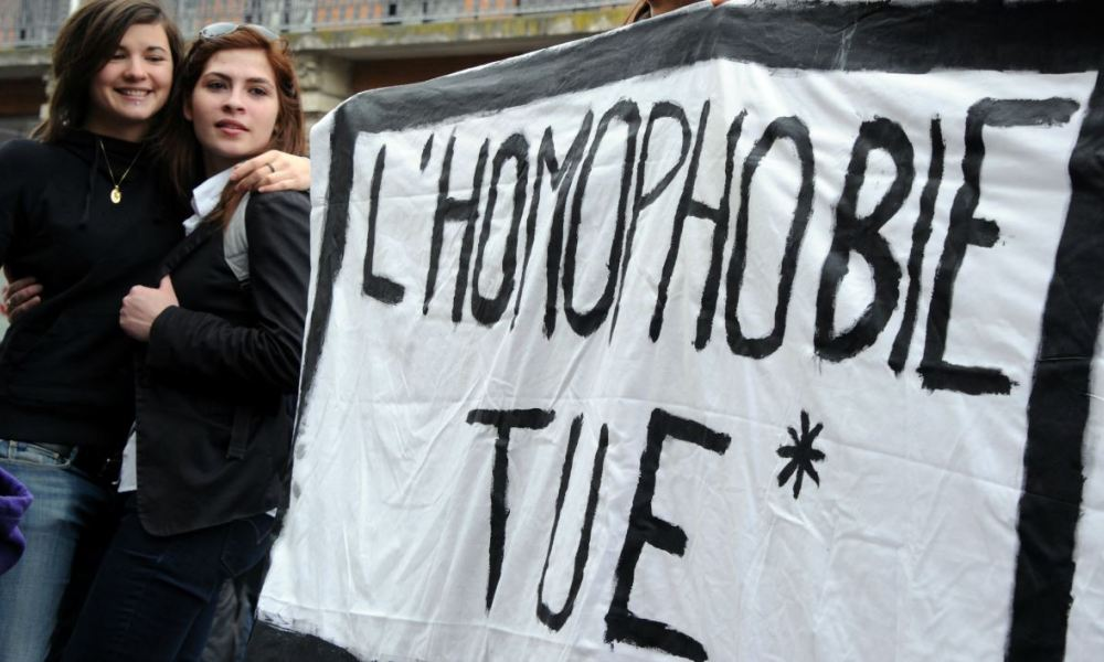 People rally in support of same-sex marriage during a counter-demonstration of a march against gay marriage on November 17, 2012 in Toulouse, southern France.