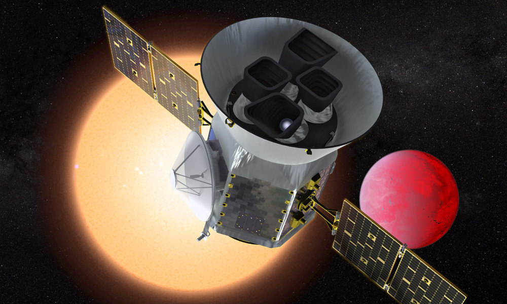 This NASA handout artist's rendition obtained March 25, 2018, shows the Transiting Exoplanet Survey Satellite (TESS), a NASA Explorer mission launching in 2018 to study exoplanets, or planets orbiting stars outside our solar system.