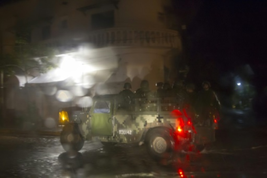 Mexican soldiers patrol streets during the arrival of hurricane Patricia in Puerto Vallarta, Mexico on October 23 ,2015. Monster Hurricane Patricia roared toward Mexico's Pacific coast on Friday, prompting authorities to evacuate village...