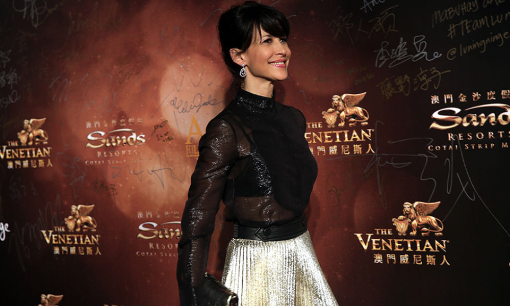 French actress Sophie Marceau walks the red carpet at the Asian Film Awards in Macau on March 17, 2016. Movie stars attended the event held annually since 2007, aimed at showcasing the region's movie talent.