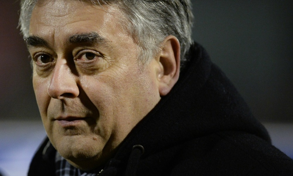 Mayor of Cholet Gilles Bourdouleix attends the French Cup football match Cholet vs Brest on January 21, 2015 at the Pierre-Blouen stadium in Cholet, western France.