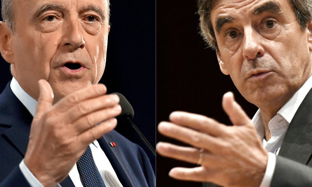 (COMBO) This combination of pictures created on November 21, 2016 shows Alain Juppe (L) delivering a speech during a campaign meeting on October 19, 2016 in Rennes, western France, and Francois Fillon gesturing during a campaign meeting in Pace, northwestern France, on September 15, 2016.